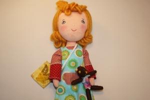 Stoffpuppe aus Naturmaterial, Handgemachte Geschenkpuppe 30 cm, Trio Girls---ELENA(Teddy)