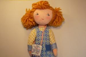 Stoffpuppe aus Naturmaterial, Handgemachte Geschenkpuppe 30 cm, Trio Girls---LILLY