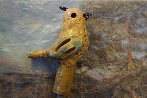 Gartenvogelfigur(ROSA) aus Ton, 13 cm, Originales Einzelstück aus eigener Keramikwerkstatt