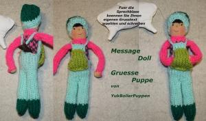Grüße Puppe PHILIPP, 18 cm, gestrickte kleine Puppe, Zum Verschenken, Zum Spielen