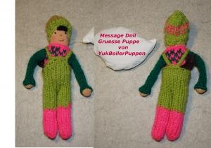 Grüße Puppe AUGUSTIN, 18 cm, gestrickte kleine Puppe, Zum Verschenken, Zum Spielen