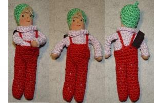 Kleine gestrickte Puppe BRUNO, 15 cm, Zum Verschenken, Zum Spielen