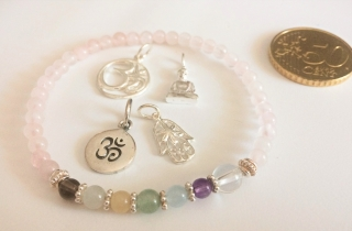 Handmade Yoga-/Chakra-Armband Rosenquarz - 7. Chakra - Kronen- oder Scheitelchakra - aus Edelsteinen