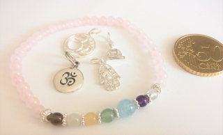 Handmade Yoga-/Chakra-Armband Rosenquarz - 5. Chakra - Hals- oder Kehlchakra - aus Edelsteinen