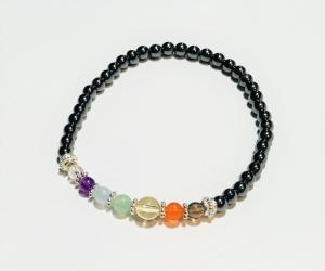 Handmade Yoga-/Chakra-Armband Hämatit - mit Edelsteinen und 925-Silberelementen