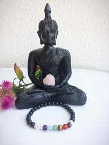 Handmade Yoga-/Chakra-Armband Onyx - mit Edelsteinen und 925-Silberelementen