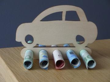 Geldgeschenk / Geldhalter zum Führerschein Auto Holz