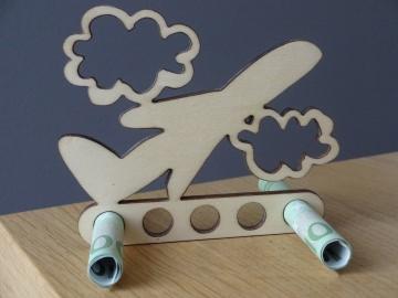 Geldgeschenk/ Geldhalter Urlaub Flugzeug Holz