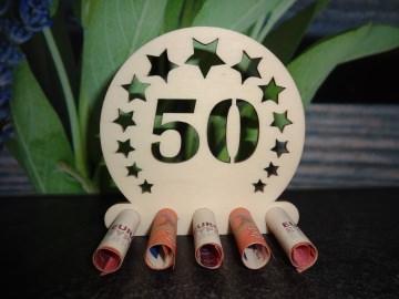 Geldgeschenk / Geldhalter 50. Geburtstag Holz