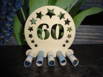 Geldgeschenk / Geldhalter 60. Geburtstag Holz