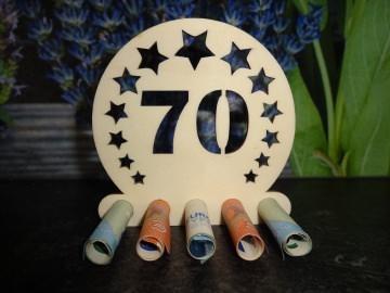 Geldgeschenk / Geldhalter 70. Geburtstag Holz