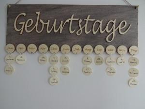 Geburtstagskalender -Geburtstage- Holz grau