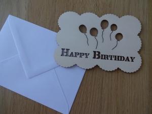 Glückwunschkarte aus Holz Happy Birthday mit Ballons