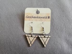 Holz-Ohrringe geometrisch - Dreieck mit graviertem Dreieck, Holzschmuck