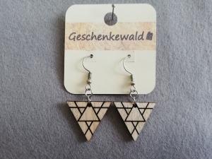 Holzohrringe geometrisch - Dreieck mit Gravur, Holzschmuck
