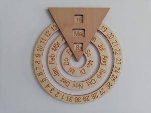 Dauerkalender aus Holz, drehbar, natur, Schulkalender