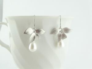 Ohrringe Silber Orchideen Blumen Perlen weiss Edelstahl Ohrhaken,Hochzeitsschmuck,Brautschmuck