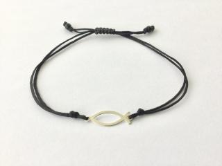 Armband Fisch  Ichthys 925 Silber und Makrameeverschluss