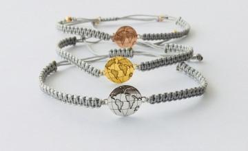 Armband mit Globus 925 Silber und Makrameeverschluss