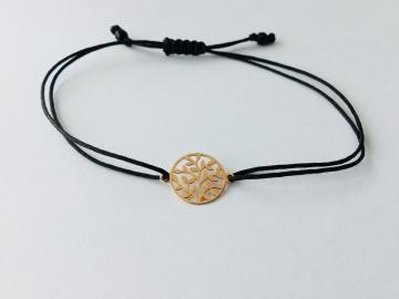 Armband mit Baum des Lebens  925 Silber und Makrameeverschluss
