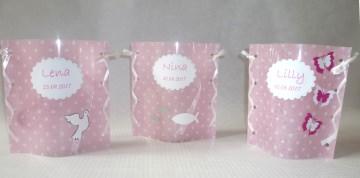 handgemachtes Windlicht Tischlicht zur Taufe oder Geburt Tischdeko mit Namen und Datum in rosa