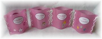 handgemachtes Windlicht Tischlicht zur Einschulung, 1. Schultag, Schulanfang,Tischdeko mit Namen und Datum in pink-weiß kariert