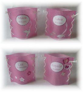 handgemachtes Windlicht Tischlicht zur Taufe oder Geburt Tischdeko mit Beschriftung in pink/weiß kariert