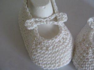 ♥ - ♡ -  Taufschuhe Ballerinas creme Fuss ca. 11 cm mit Schleifendesign Baumwolle