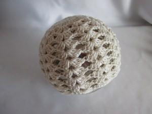 Taufmütze dunkelcreme Baumwolle NEU für KU von ca. 40 - 43 cm