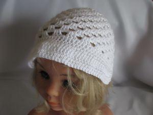 ♥ - ♡ - Taufmütze Cap Babymütze weiß für KU von ca. 45-47 cm  ♥ - ♡ -