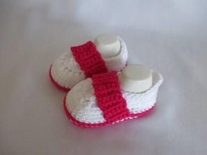 ★ - ☆ -  Babyschuhe Mädchenschuhe weiß pink Baumwolle Fuss ca. 10 cm ★ - ☆ -