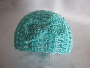 ♥ - ♡ - Babymütze mint mit Schleife für KU ca. 42 - 44 cm Baumwolle