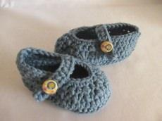 Warme ♥ - ♡ - Babyballerinas handmade jeans mit Merino ~ 12 cm Fuss ca. Gr. 18/19