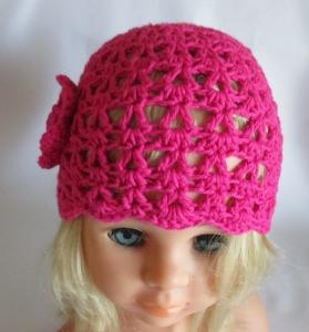 ★ - ☆ Babymütze selfmade pink Häkelblüte + Perlen KU ca. 45-47 cm