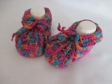 ♥ - ♡ - Babyschuhe bunt Fuss ca. 9,5 cm mit Schurwolle ca. Gr. 16/17 ♥ - ♡ -