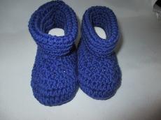 ♥ - ♡ - Booties Babyschuhe dunkellila mit Merino ca. 13 cm Fuss