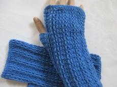 ♥ - ♡ - Armstulpen selfmade blau Baumwolle Pulswärmer gehäkelt