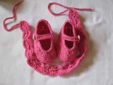 ♥ - ♡ - Babyset: Stirnband + Ballerinas aus Baumwolle Fuss ca. 11,5 cm ca. Gr. 18/19