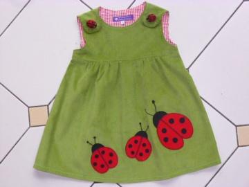 Kinderkleid *Käfer* aus Cordstoff mit Marienkäferapplikation