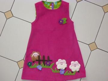 Kinderkleid *Schäfchen* aus hochwertigem Cordstoff