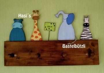 Kinder-Garderobe braun ♡ WILDTIERE ♡ aus Holz, Hakenleiste - Handarbeit kaufen