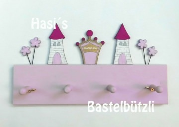 Kinder-Garderobe rosa ♡ PRINZESSIN ♡, aus Holz, Hakenleiste - Handarbeit kaufen