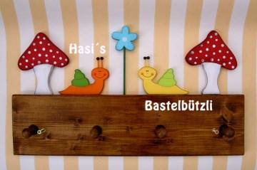 Kinder-Garderobe braun ♡ SCHNECKEN ♡ aus Holz, Hakenleiste