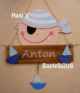 Kinderzimmer-Türschild ♡ PIRAT ♡, aus Holz, Namensschild, Türschild