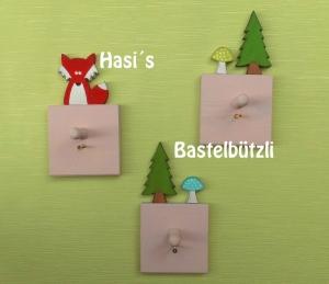 3 Garderobenhaken rosa ♡ WALD ♡ aus Holz, Hakenleisten, Wandhaken - Handarbeit kaufen