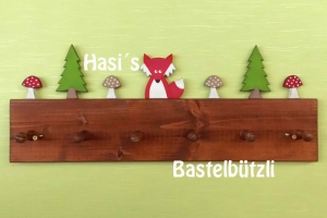 Kinder-Garderobe braun ♡ WALD ♡ aus Holz, Hakenleiste