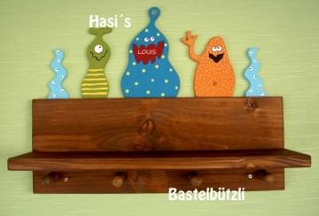 Kinder-Garderobe braun ♡ MONSTER ♡ mit Ablage, aus Holz - Handarbeit kaufen