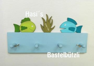 Kinder-Garderobe hellblau ♡ FISCHE ♡ aus Holz, Hakenleiste, Handtuchhalter - Handarbeit kaufen