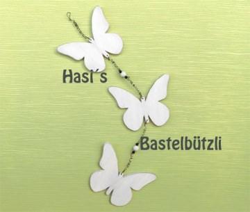 ♡ Weiße Schmetterlings-Kette ♡ aus Holz, Shabby-Chic - Handarbeit kaufen