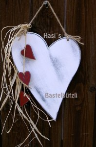 ♡ Weißes Holz-Herz ♡ im Shabby Chic, Hochzeitsdeko - Handarbeit kaufen